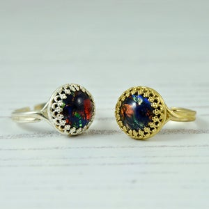 Image of Black Opal Ring Gold Or Silver