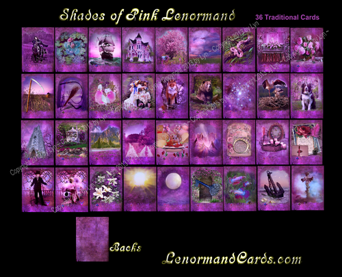 Image of Shades of Pink Lenormand Deck-Poker Sized-36 Traditional Cards-Plus 35 Alternative Cards- & options