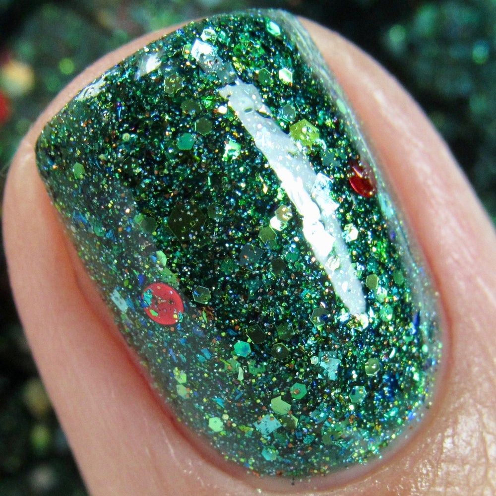 Image of HOLIDAY 2017 ~Holly~ green jelly with green, gold & red glitters and multichrome flakes!