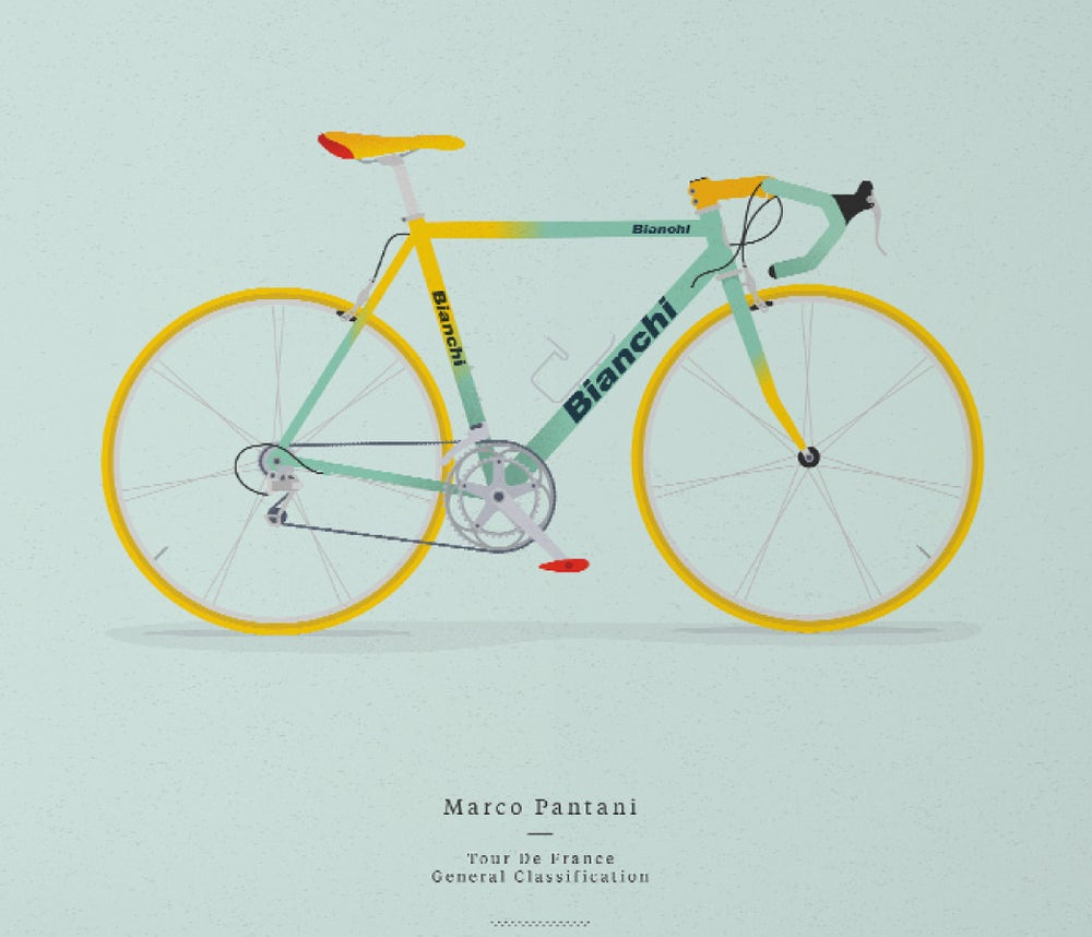 Image of Pantani's Bianchi A3 print LIMITED EDITION - by Parallax
