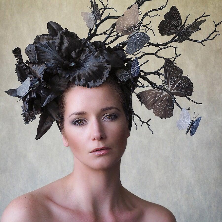 Image of Black butterflies headdress