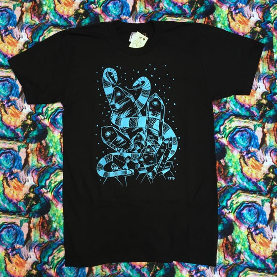 Image of CRYSTAL SNAKES BLUE ON BLACK T-SHIRT