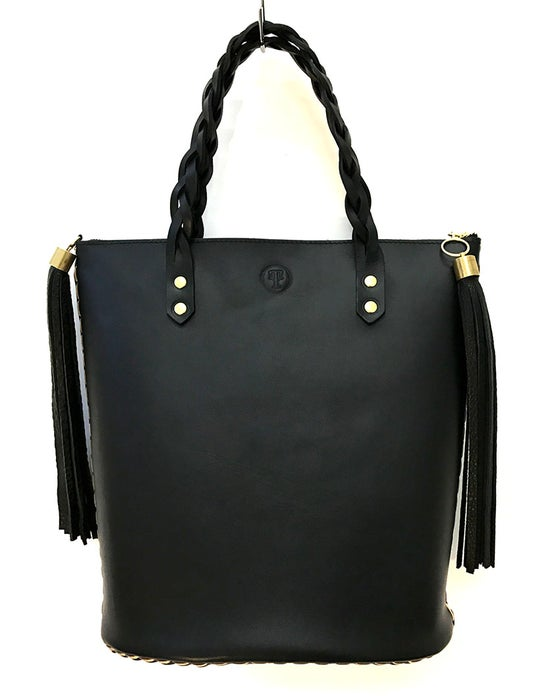 Image of Secret plait tote bag in black leather