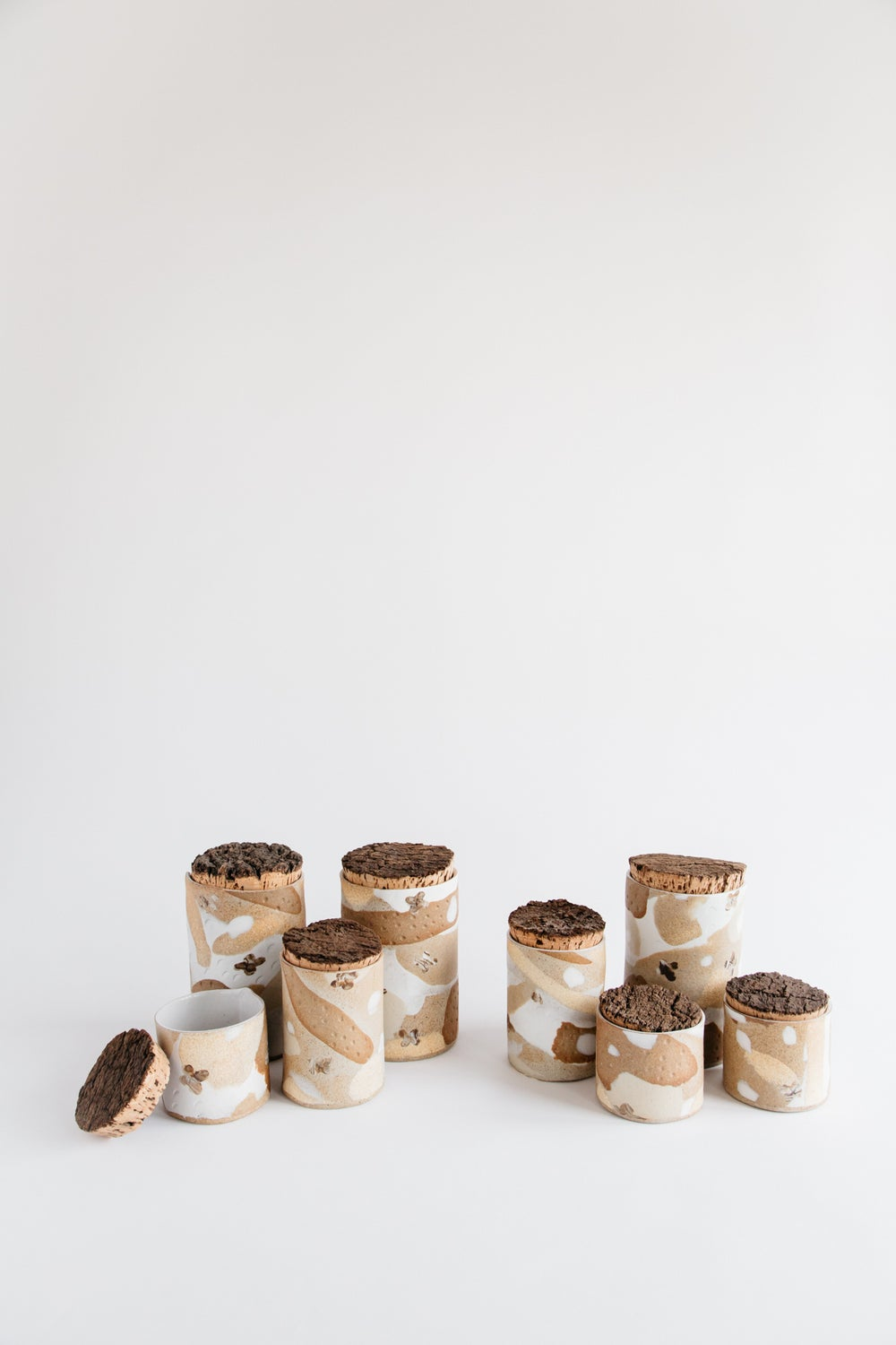 Image of Floral Natural colored canisters