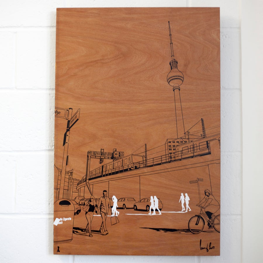 Image of Berlin sketch on wood