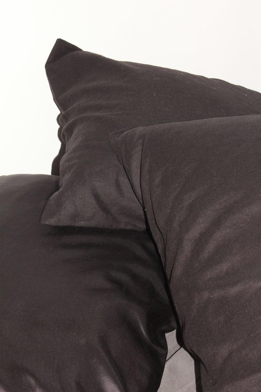 Image of 100% Linen Pillow Slip/Black