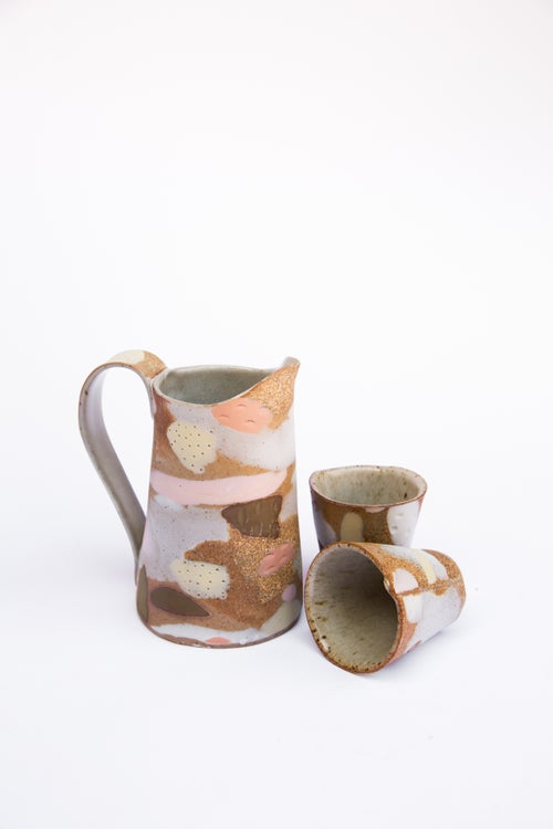 Image of Pink and yellow porcelain Inlay camo Pitcher Set