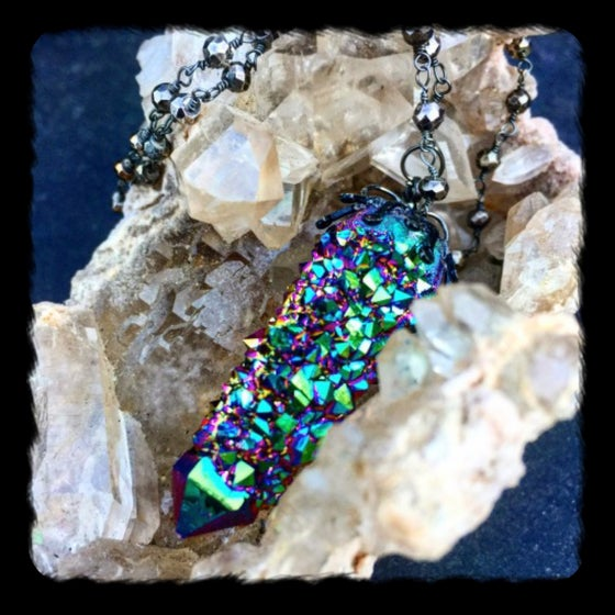 Image of MAGICAL (RARE) TITANIUM AURA SPIRIT CACTUS QUARTZ /OXIDIZED STERLING AND PYRITE NECKLACE