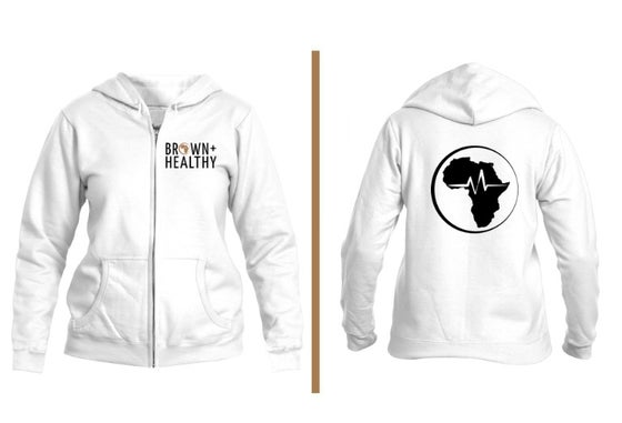 Image of Brown and Healthy Zip Hoodie (White)