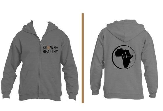 Image of Brown and Healthy Zip Hoodie (Grey)
