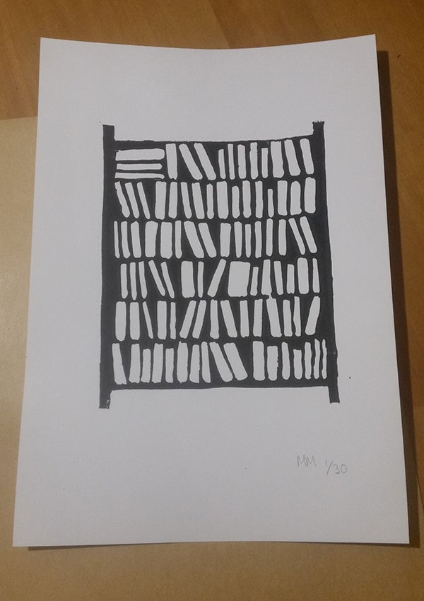 Image of Limited Edition Lino Print - Bookcase - A4