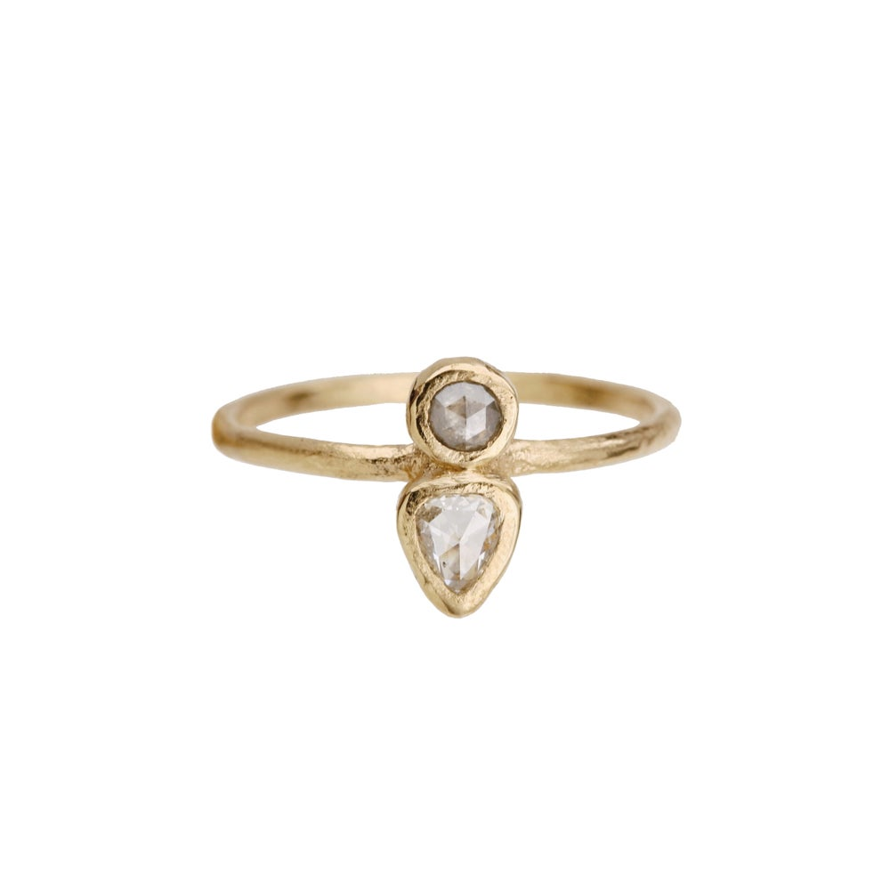 Image of Two stone ring. Grey diamond. Pear rose cut diamond. Toast.