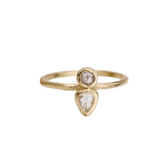 Image of Two stone ring. Grey diamond. Pear rose cut diamond. Toast.