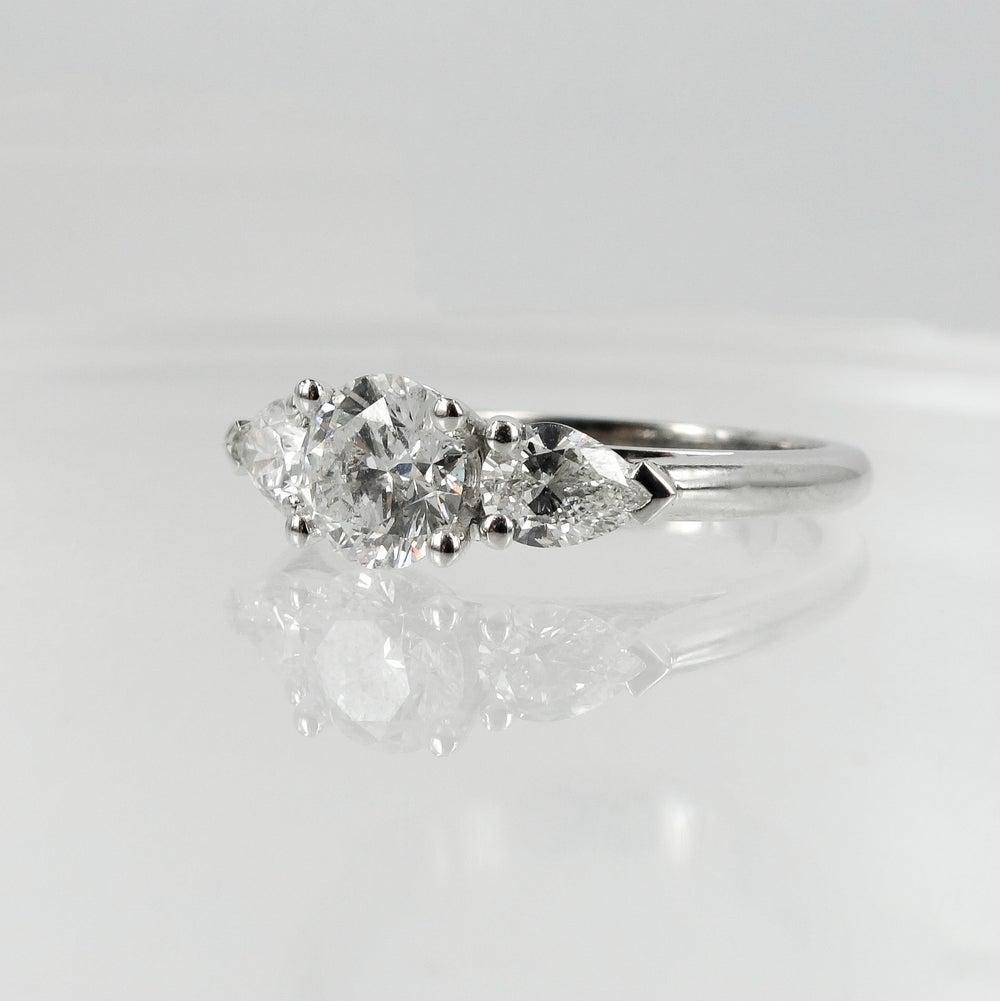 Image of 18ct White Gold Round + Pear Shape Diamond Engagement Ring