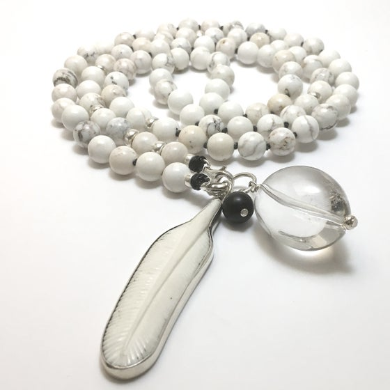 Image of New! Howlite as a Feather Double Infinity Mala 88