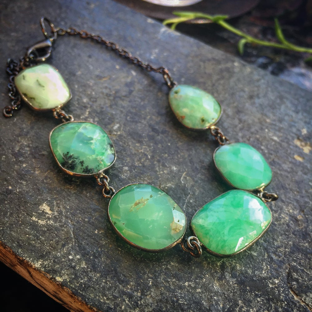 Image of HEART CHAKRA HEALING bevelled CHRYSOPRASE on oxidized chain.