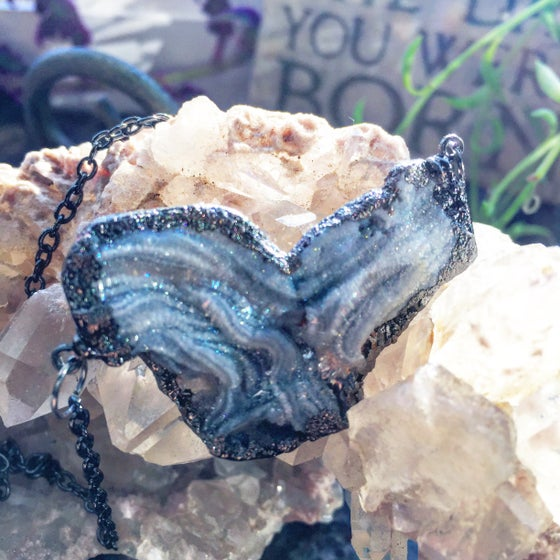 "Image of ""AGATE GEODE THE WOMB OF THE DIVINE"" ~Heart Shaped Raw Geode on oxidized chain"