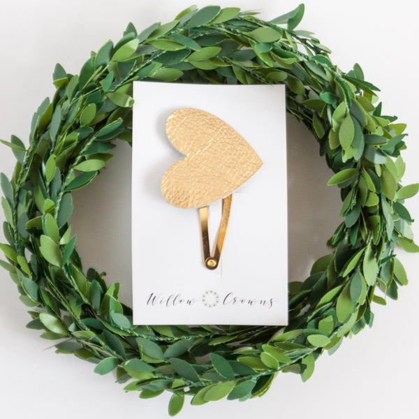 Image of Gold Leather Heart Clip