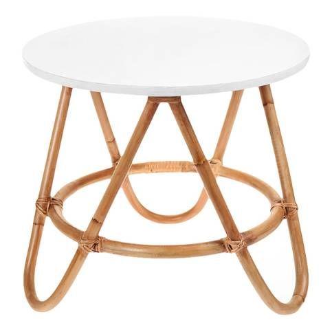 Image of Mesita de noche o mesa auxiliar de rattan (color tapa a elegir)