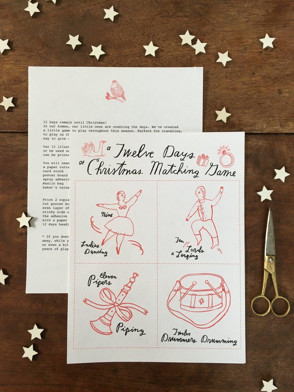 Image of 12 Days of Christmas Matching Game printable