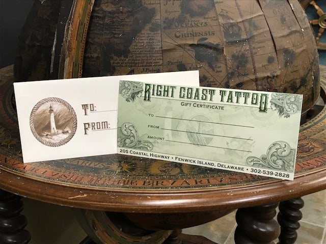 Image of Right Coast Tattoo Gift Certificate