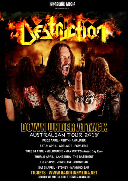 Image of DESTRUCTION TICKET (VIP) - MELBOURNE, MAX WATT'S - TUES 24 APR 2018 (Anzac Day Eve)