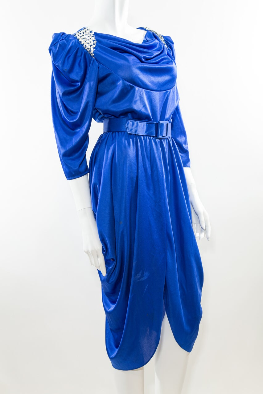 Image of Cinched & Belted 70s Party Dress