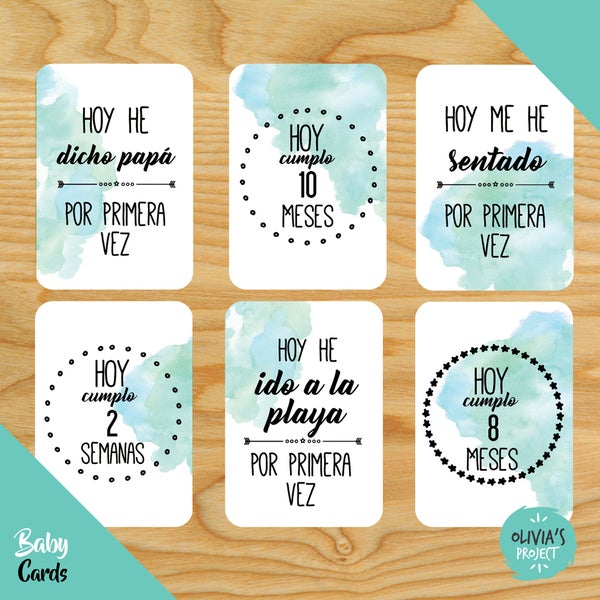 Image of Baby Cards Modelo Acuarela (Varios colores)