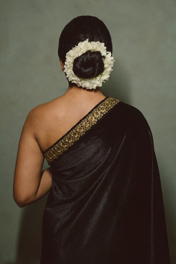 Image of Shahi - Royal Robe (Black with Gold Floral Border)