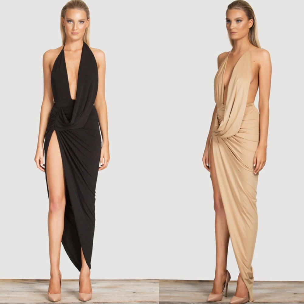 Image of GLAMOURFOXX LUXE Split hem plunge maxi dress