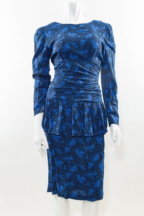 Image of Black & Blue 80s Peplum