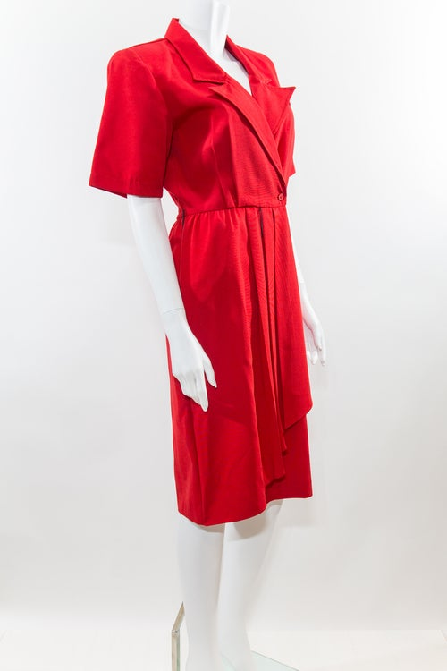 Image of Red Waterfall Wrap Dress