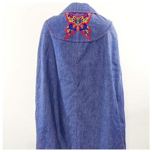 Image of Butterfly Denim Poncho