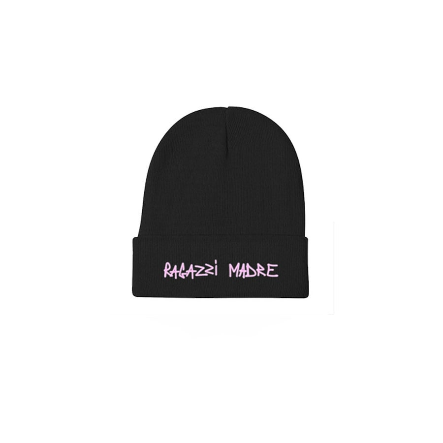 "Image of BEANIE ""RAGAZZI MADRE 1 YEAR ANNIVERSARY"" BLACK"