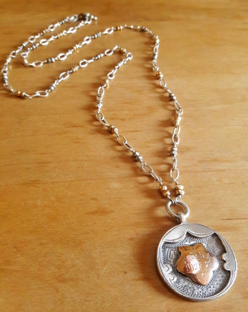 Image of Two-tone English fob on Sterling and Pyrite chain, #4SE