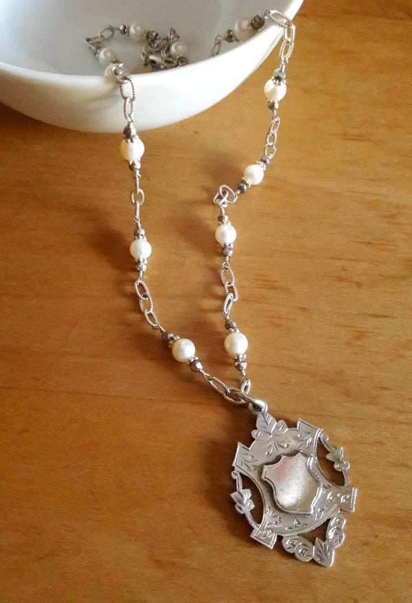 Image of White Pearls & pyrite links English Sterling Fob #4NO