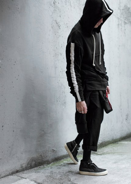 Image of Urban Flavours M E N T A L White  Stripe Racer Hoodie.