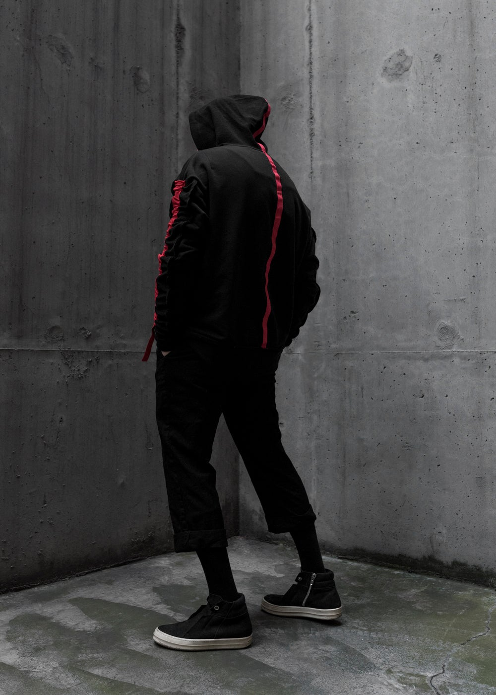 Image of Urban Flavours M E N T A L Red Stripe Racer Hoodie.
