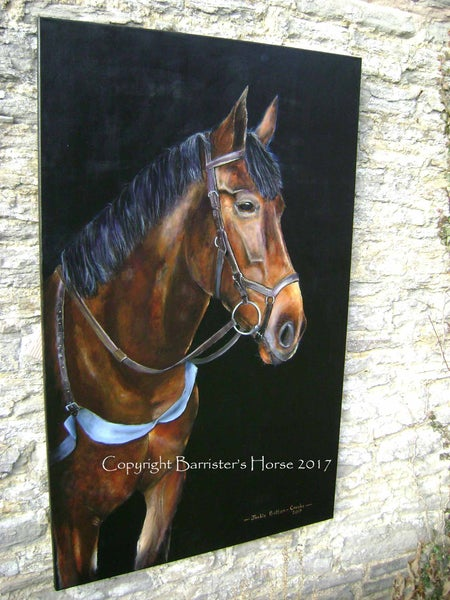 """Image of 'PATIENCE OF JOB' ORIGINAL HORSE PAINTING, 48"""" x 30"""" ACRYLIC ON LINEN"""