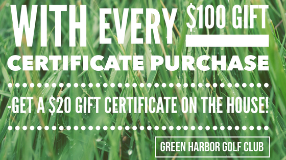 Image of $25, $50, $100 and $250 GHGC Golf Gift Certificates -