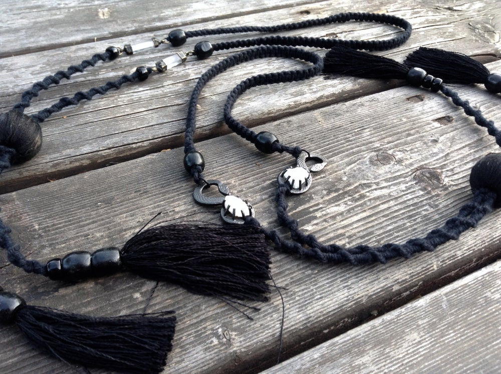 Image of Metal X Macrame Lariat Necklaces
