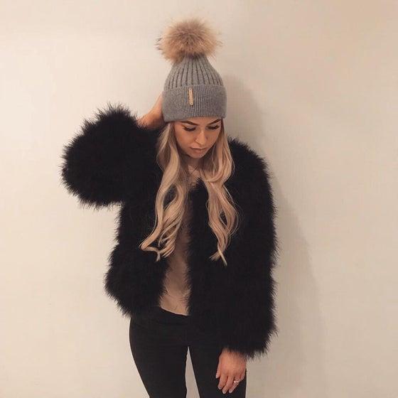 Image of Lulu Turkey Feather Jacket - Black
