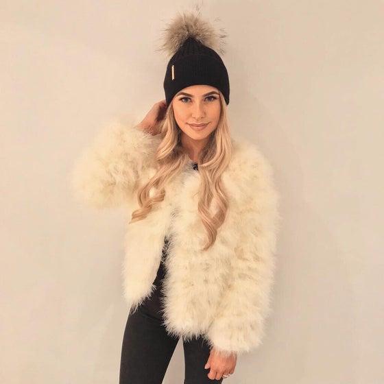 Image of Lulu Turkey Feather Jacket - Vanilla