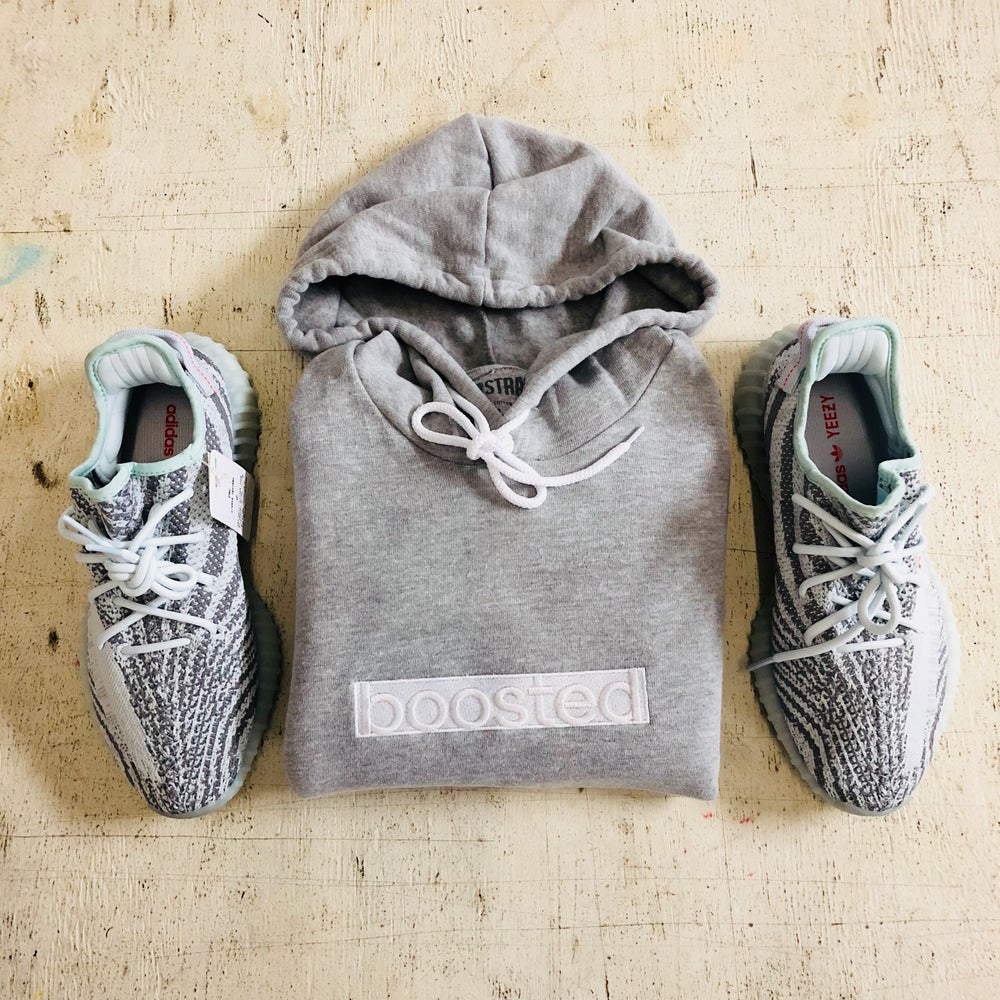 """Image of BOOSTED LONG""""WHITE ON WHITE"""" EMBROIDERY HOODY"""