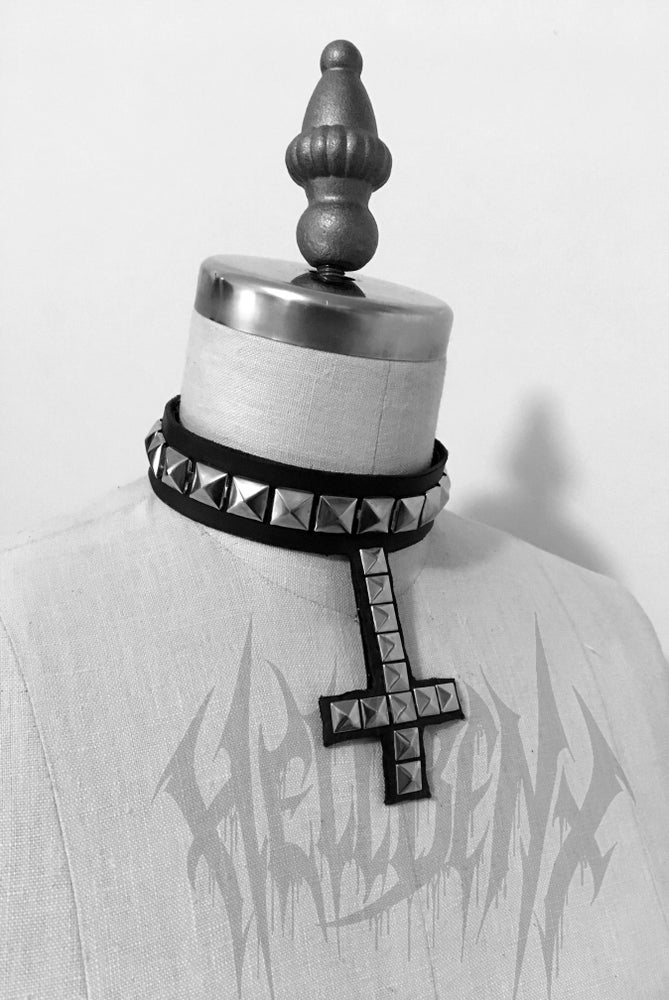 Image of Hellbent Studded Inverted Cross Leather Choker