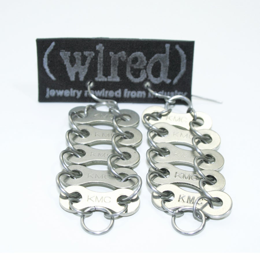 Image of Tracks5 || Upcycled Bike Chain Earrings