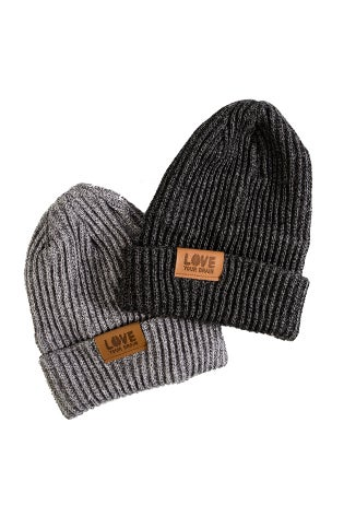 Image of LoveYourBrain Leather Patch Beanies