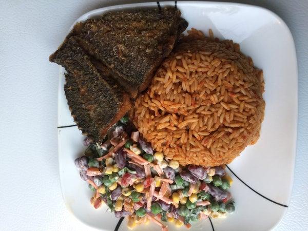 Image of Jellof Rice, fish & Salad