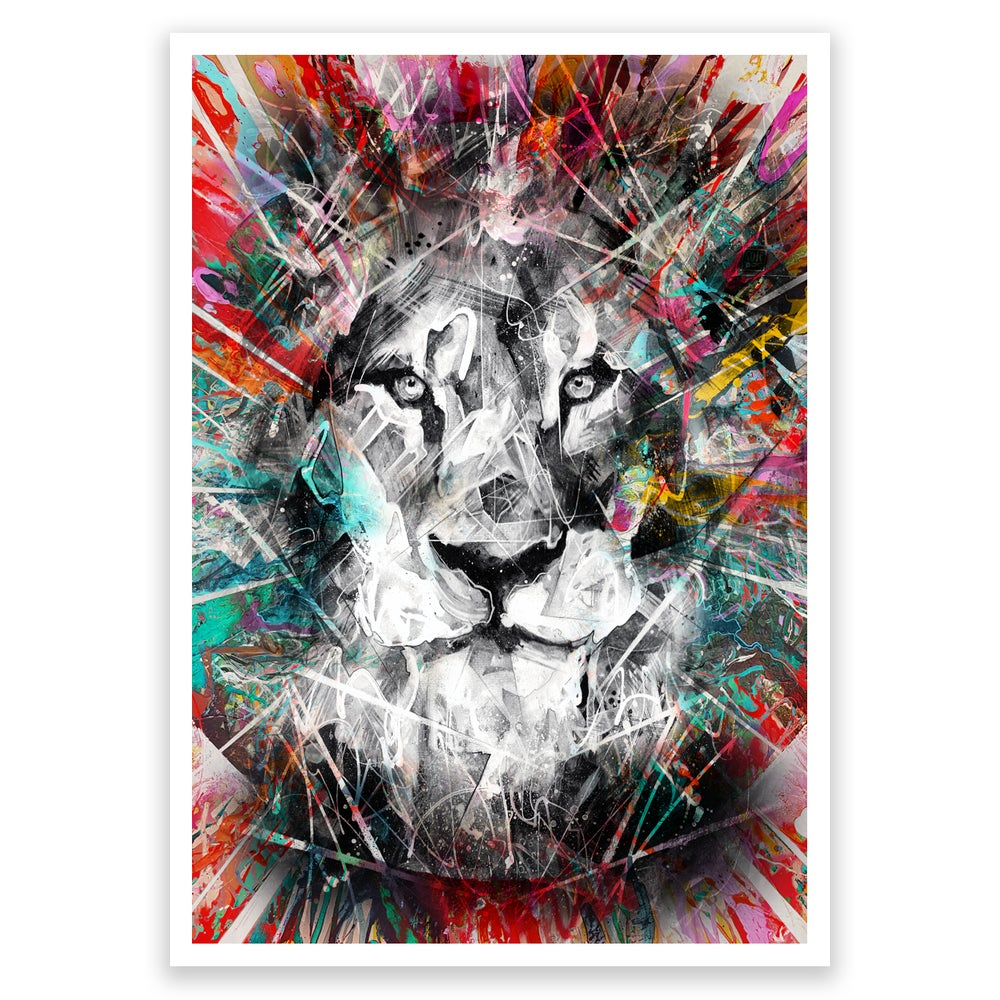 Image of Lion Colour Splash OPEN EDITION PRINT - FREE WORLDWIDE SHIPPING!!!