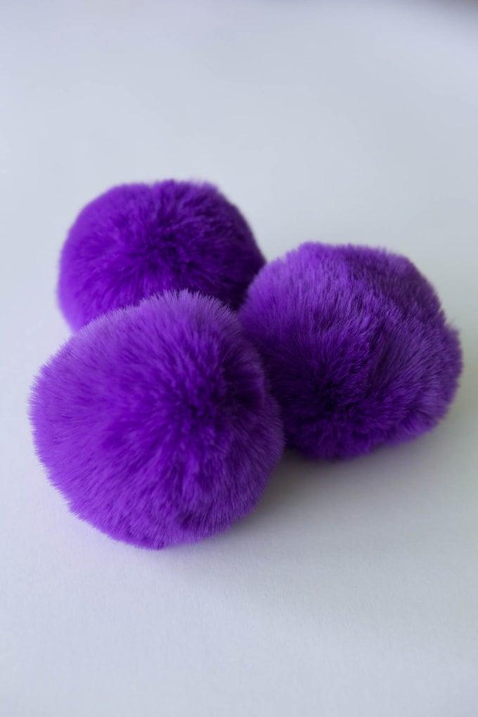 Image of Faux Fur Pompom - Purple